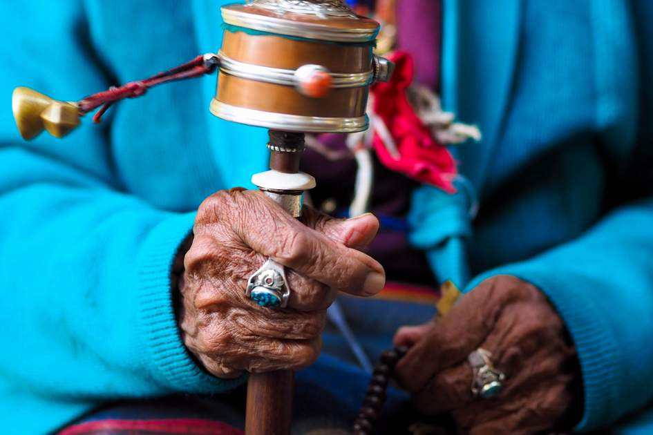 A Nepalese Buddhist rotation prayer wheel