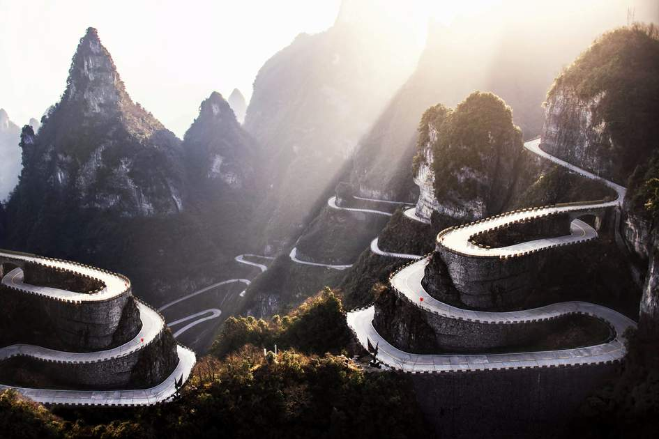 Winding roads in Tianmen Mountain National Park, China