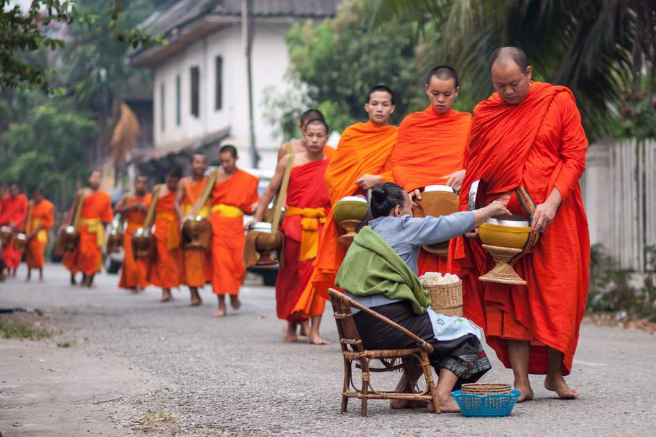 Traditional alms giving in Luang Prabang