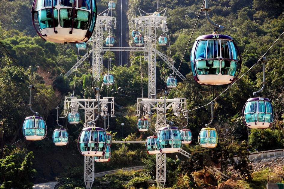 Cable cars to Ocean Park in Hong Kong