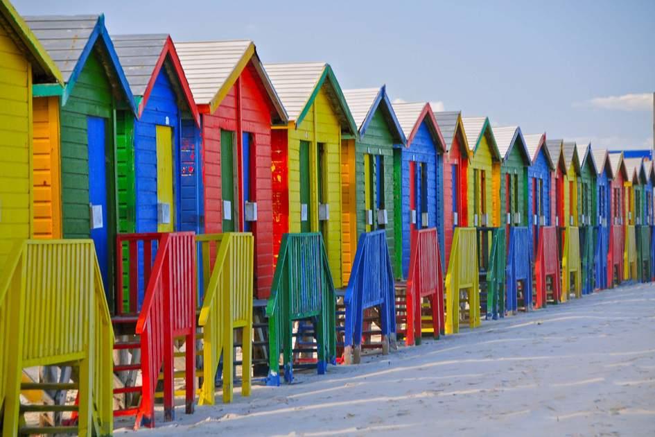 Colourful beach huts along St James's beach, Cape Town