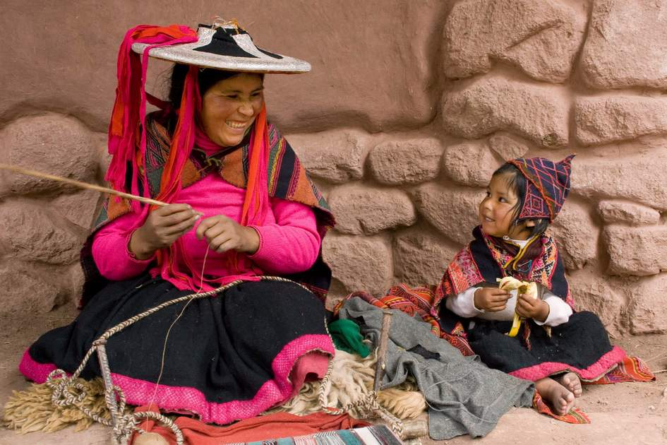 Mother and child in a village near Cusco, Peru
