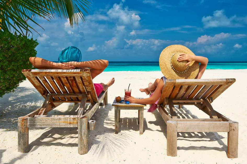 Relaxing on a tropical beach at Maldives