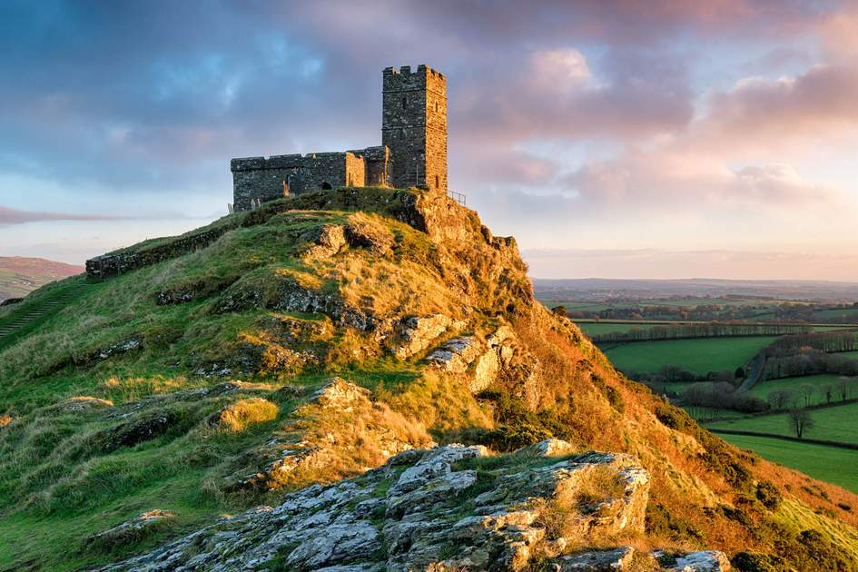 A chapel perched on the top of Brentor on Dartmoor National Park in Devon