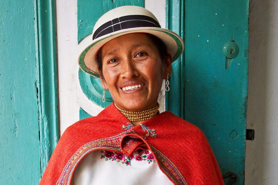 Indigenous woman from Guaranda Ecuador wearing traditional clothing. Photo: Shutterstock