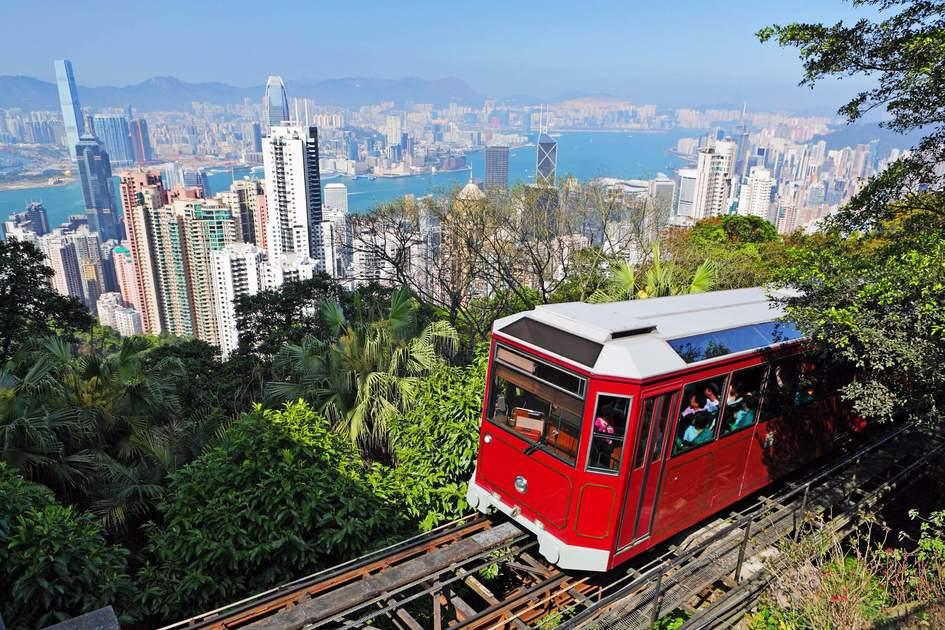 A tram at the Peak, Hong Kong