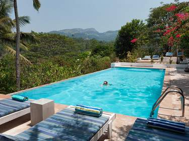The impressive pool at Ellerton Bungalows