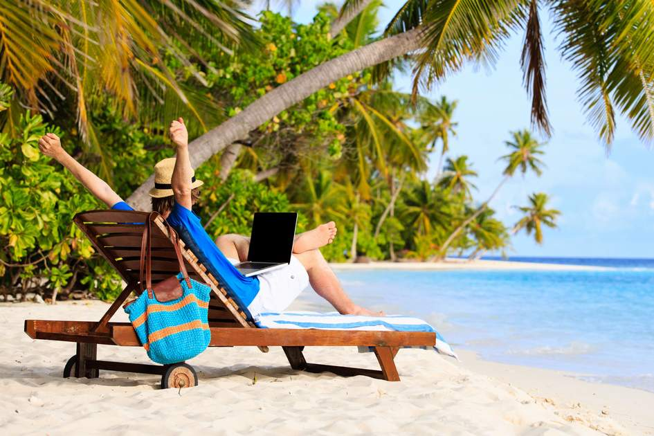 Working on a beach. Photo: Shutterstock