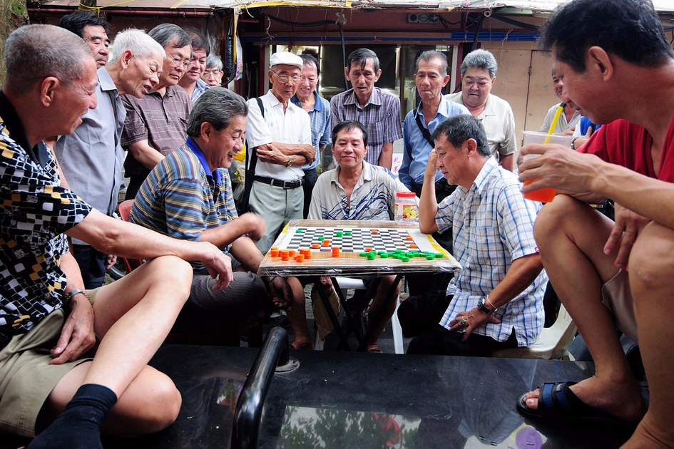 A chess game in Singapore's Chinatown