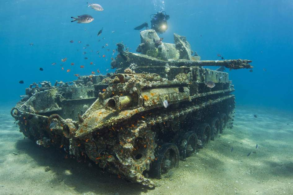 A submerged M42 anti-aircraft vehicle, Aqaba, Jordan