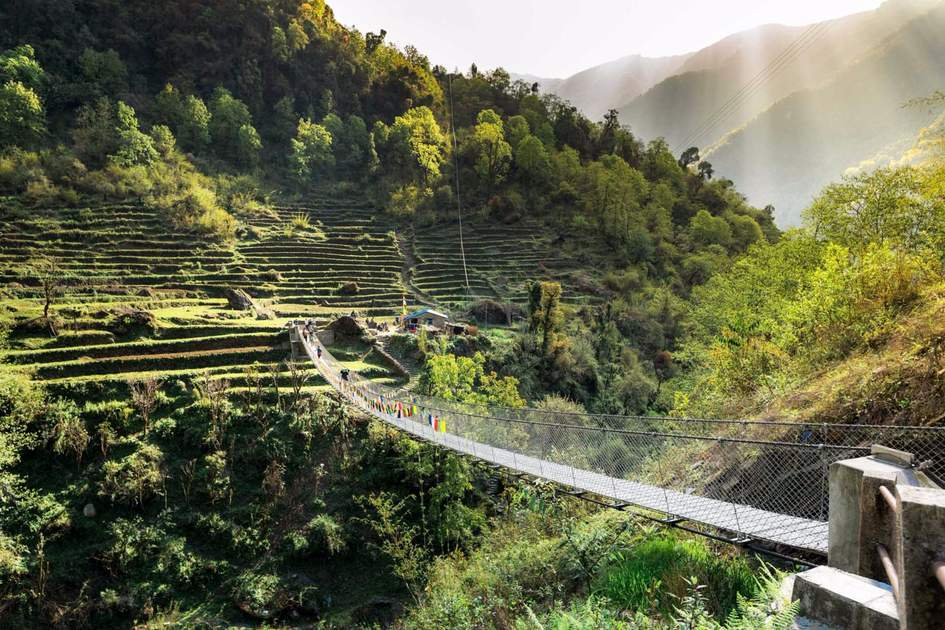 Suspension footbridge in the Nepalese Himalayas