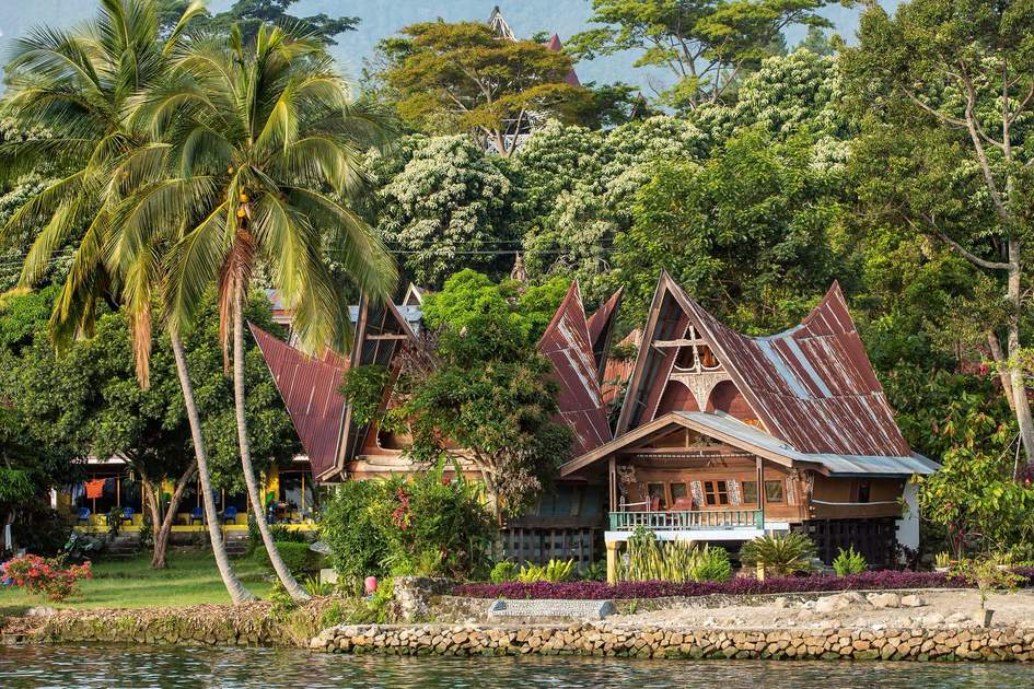 Batak house on the Samosir island near lake Toba, Indonesia, North Sumatra,