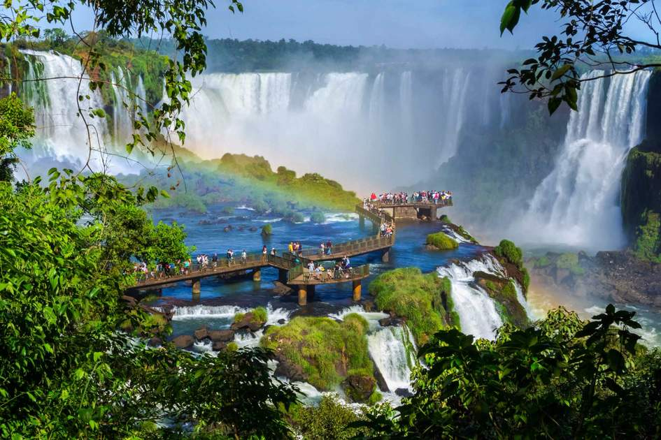 Tourists at Iguazu Falls on the border of Brazil and Argentina.