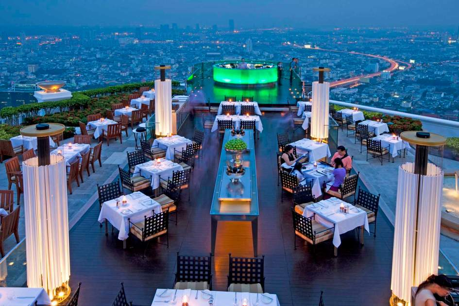 The outdoor terrace of Sirocco Restaurant, Bangkok. Photo: Peter Stuckings/APA