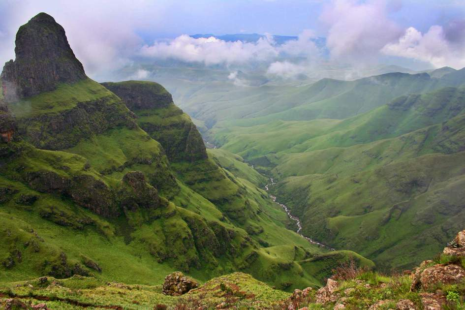 Green valley in the Drakensberg, South Africa