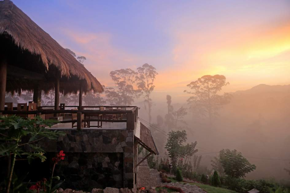 Watching sunrise from the hotel's verandah