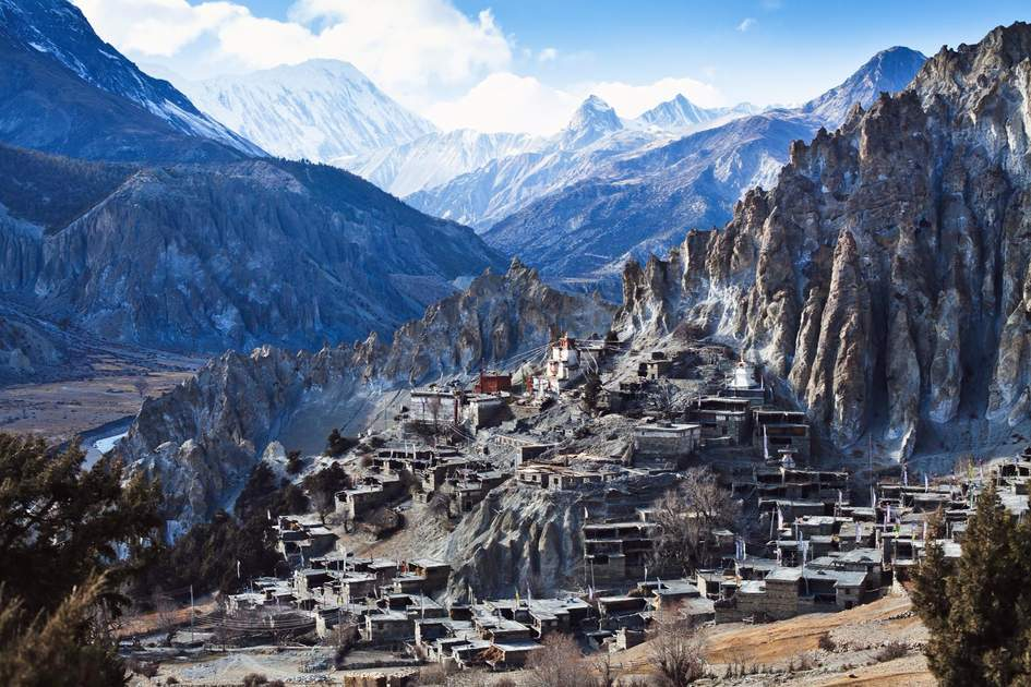 view of small village Braga on Annapurna circuit