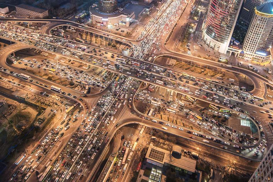 Evening traffic in Beijing