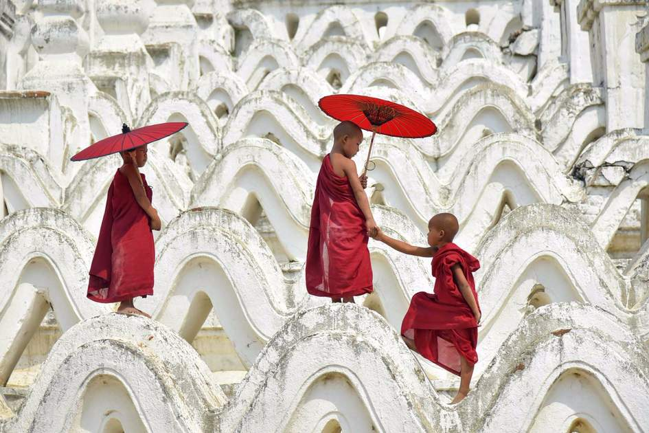 Novices at Hsinbyume Pagoda, Myanmar