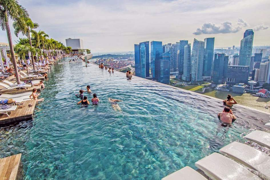 Pool view of city skyline at Marina Bay in Singapore