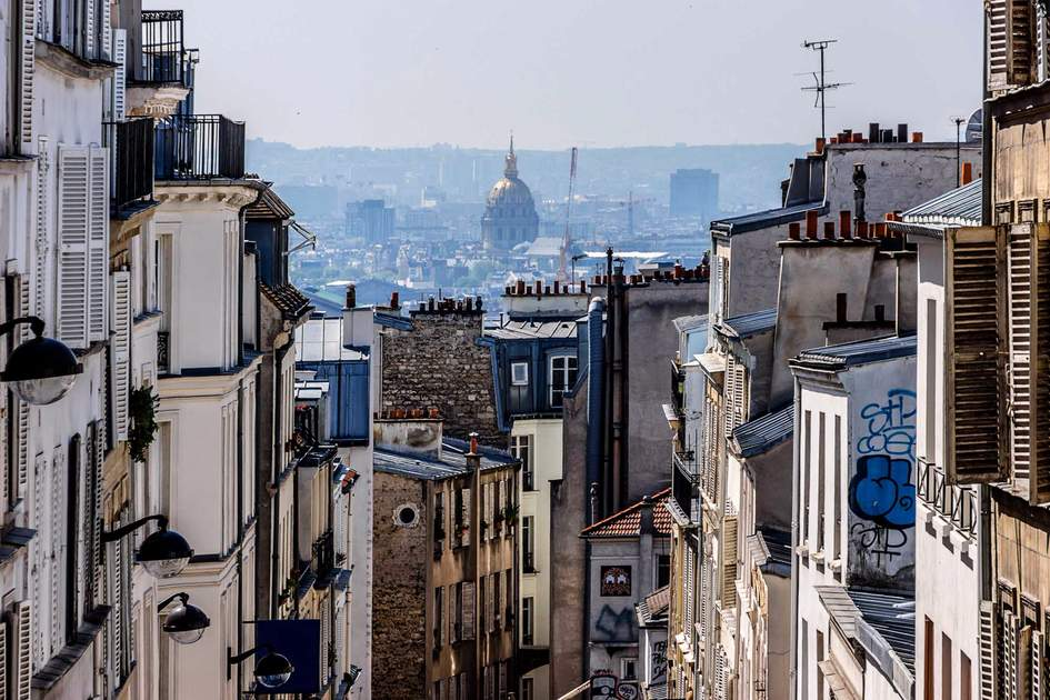 Panorama of Paris and the buildings of Montmartre. Paris, France.