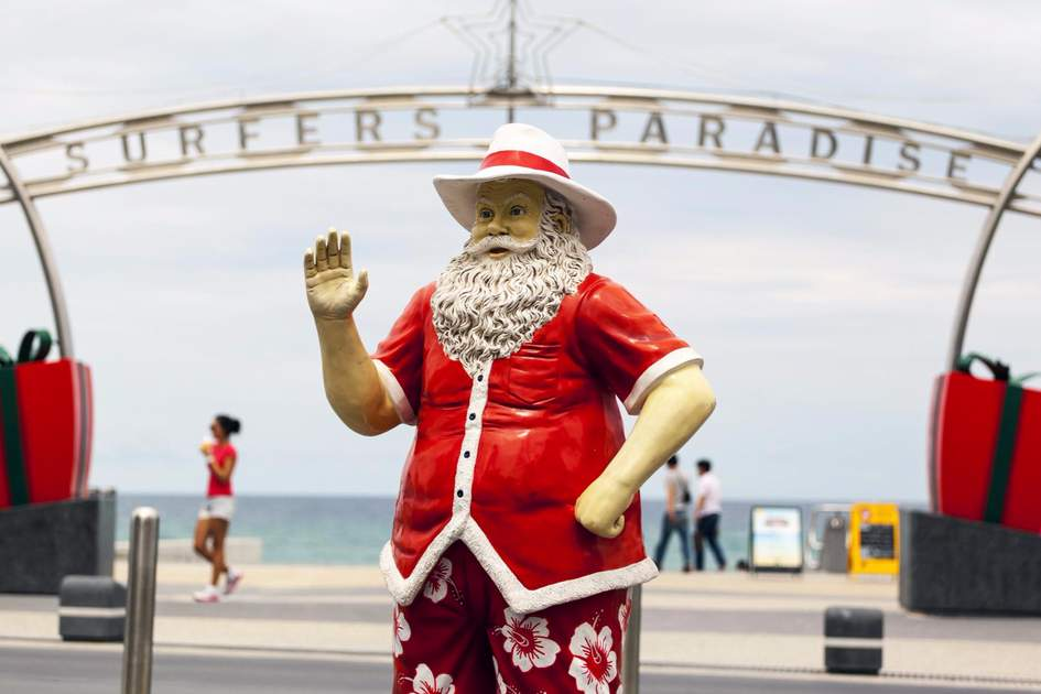 Santa at Surfers Paradise Queensland Australia beachfront, one of the best holiday spot on the planet.
