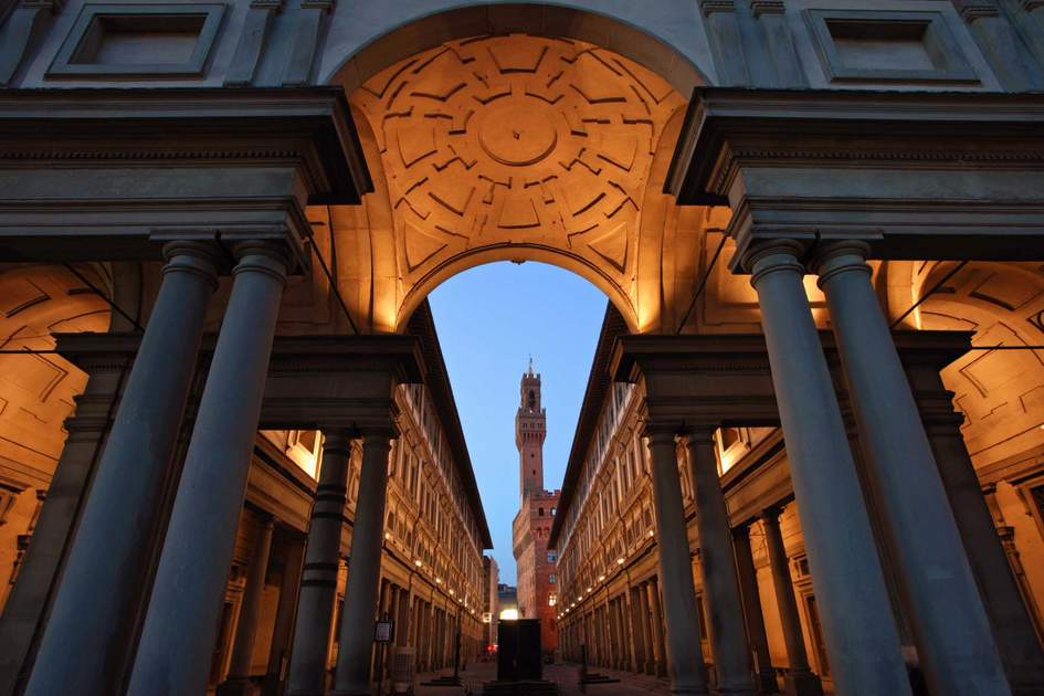 The Uffizi art gallery at dusk, Florence
