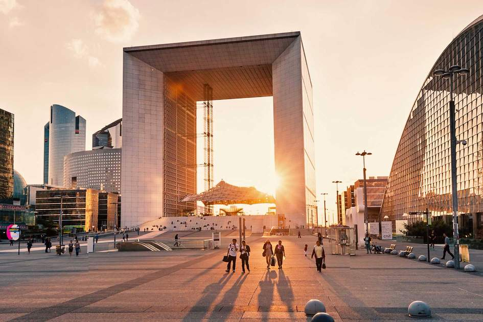 The Grande Arche de la Défense at sunset, Paris
