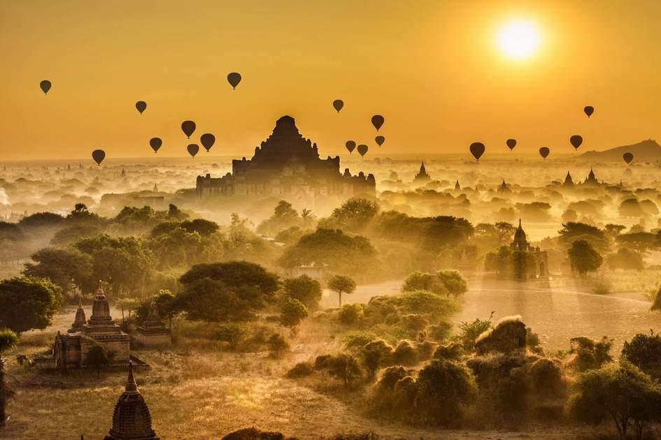 Hot air balloons above Bagan in Myanmar