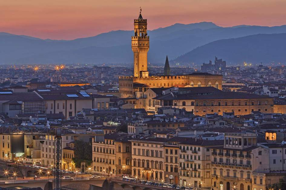 The Palazzo Vecchio and the city of Florence at night
