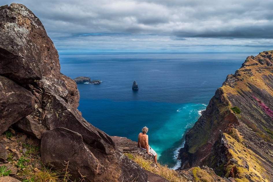 Admiring the view at Rano Kau, Easter Island, Chile