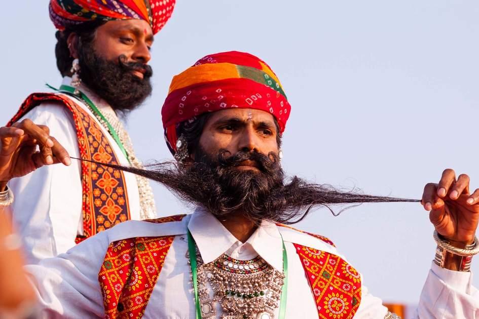 Camel Festival revellers in Bikaner, Rajasthan, India