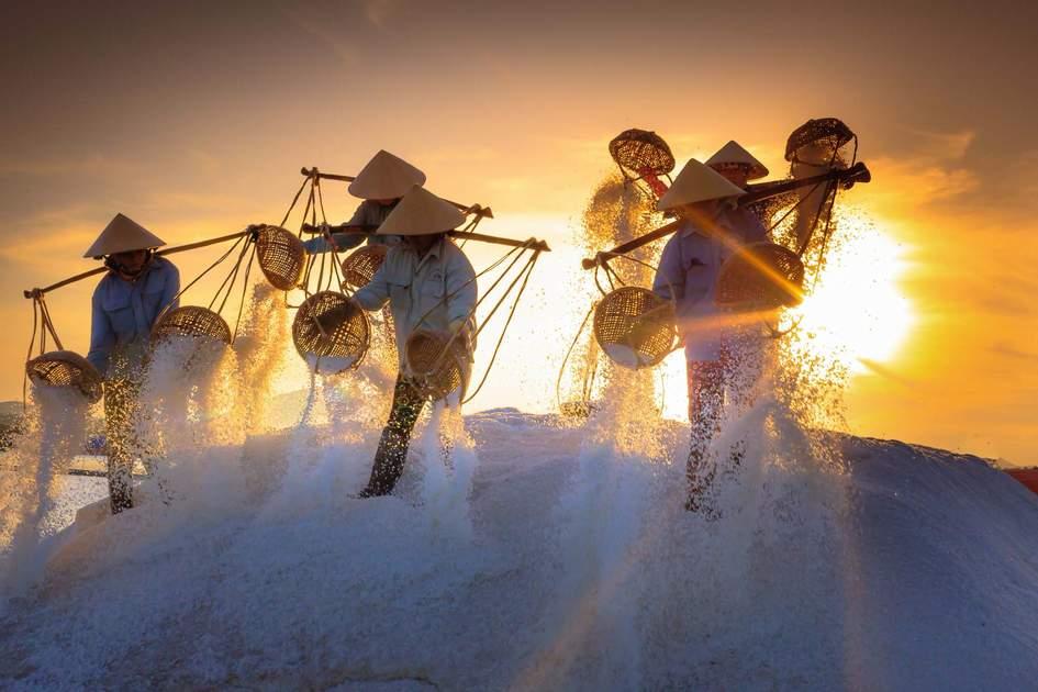 Salt field Hon Khoi in Nha Trang, Vietnam