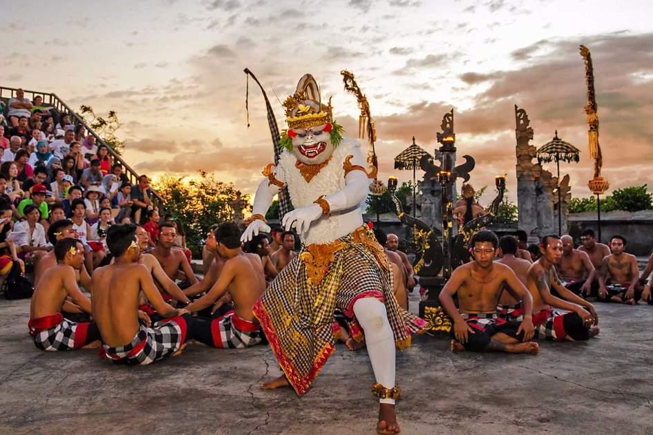 Traditional Balinese Kecak Dance at Uluwatu Temple on March in Bali. Kecak (also known as Ramayana Monkey Chant) is very popular cultural show on Bali. Photo: Shutterstock