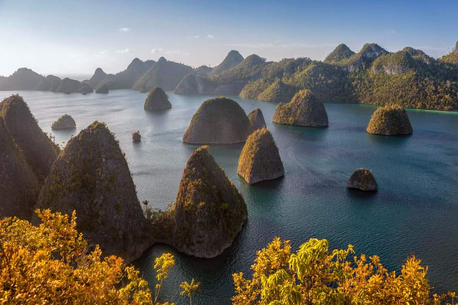 Rocks formations, part of the Raja Ampat Islands, in Indonesia