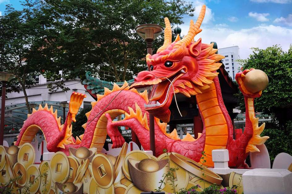 Chinese New Year Dragon Decoration in the New Bridge Road, Singapore. Photo: Shutterstock