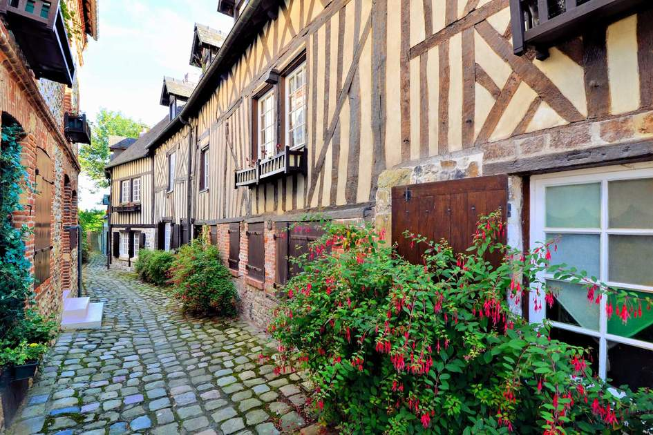 Picturesque timbered buildings in Honfleur, Normandy