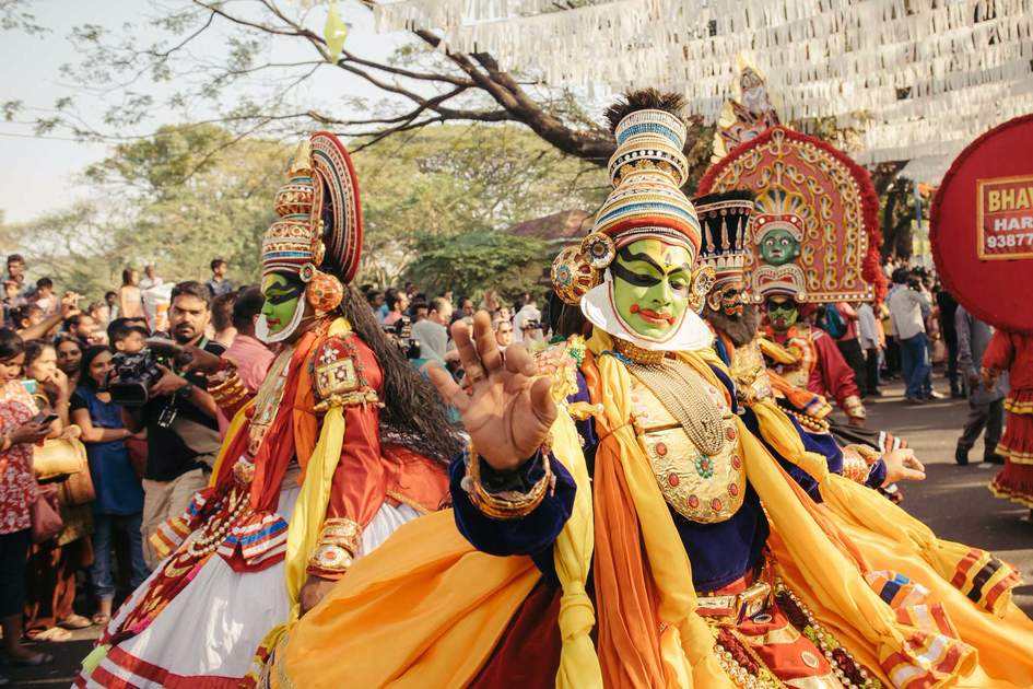 Kathakali dance at a New Year carnival in Kochi, India