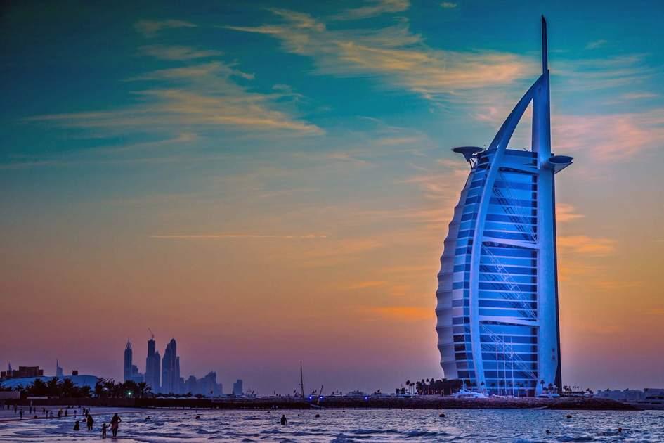 The iconic Burj al Arab hotel in Dubai
