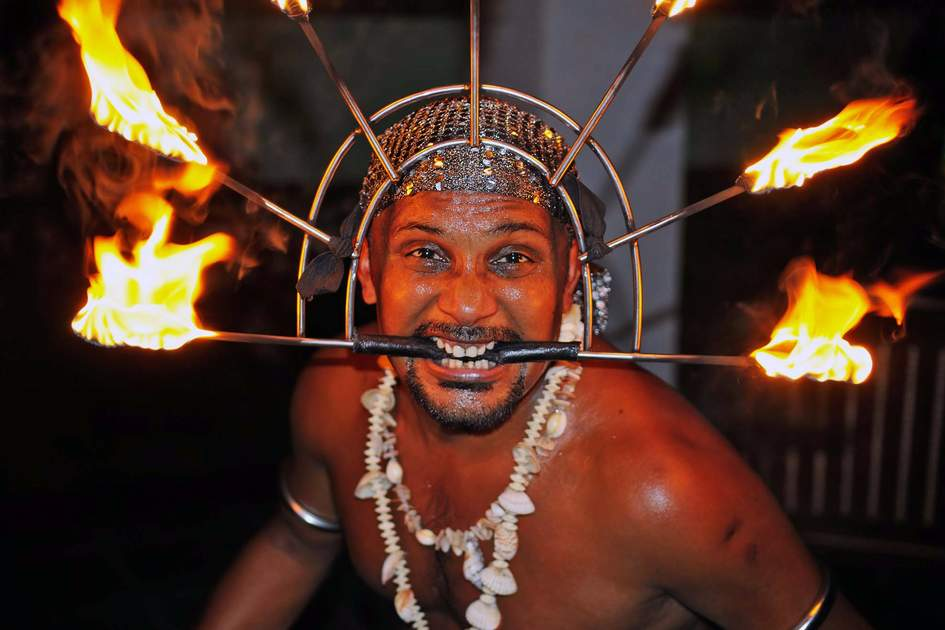Fire dancer in Galle, Sri Lanka