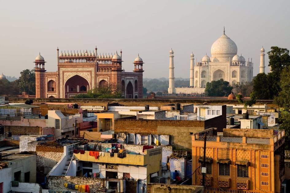 Rooftop view of the Taj Mahal, Agra, India