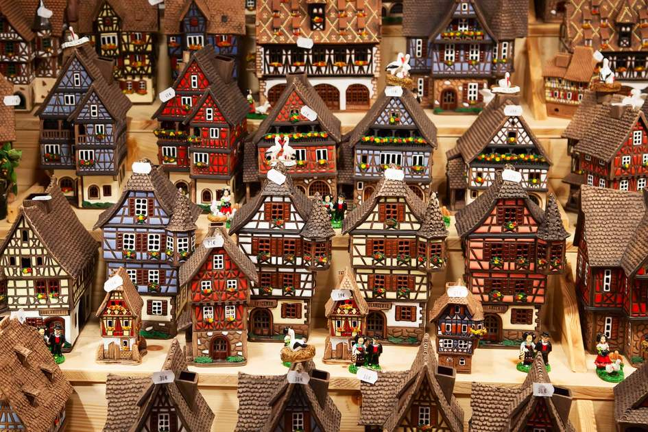 Traditional alsatian houses on the Christmas market in Strasbourg, France.