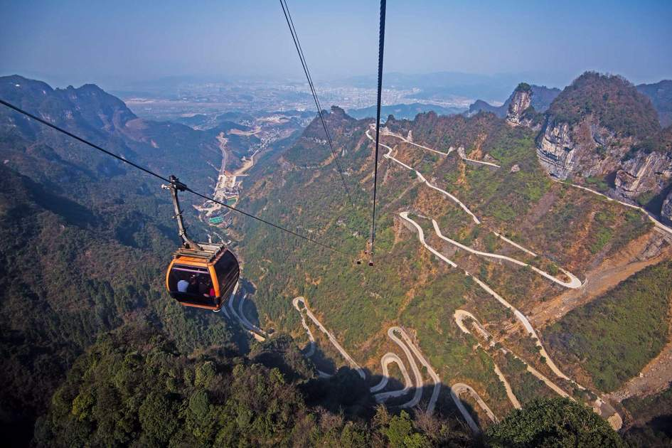 Cable car in Zhangjiajie National Park, China