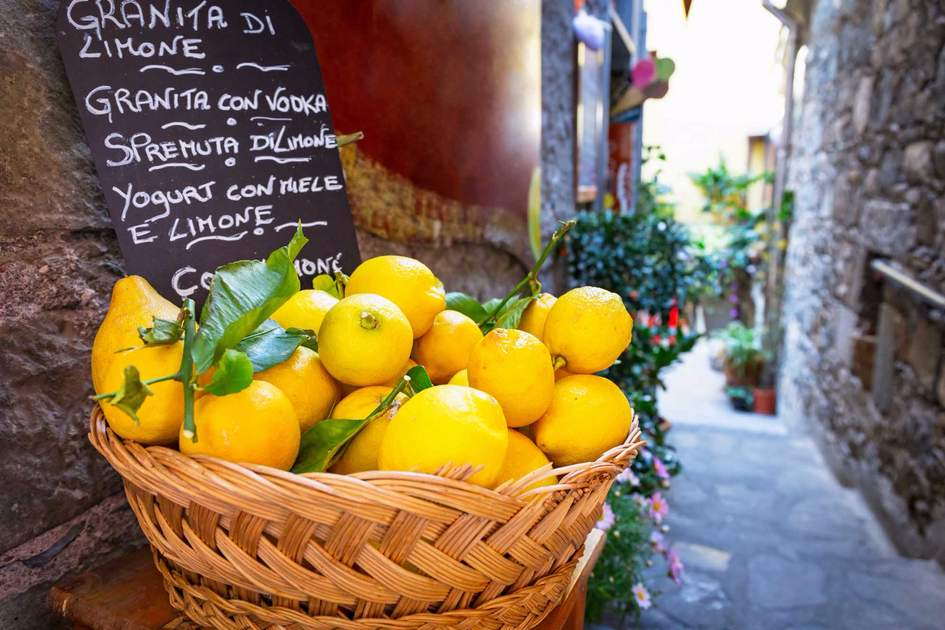 Lemons for sale on the streets of Corniglia, Italy