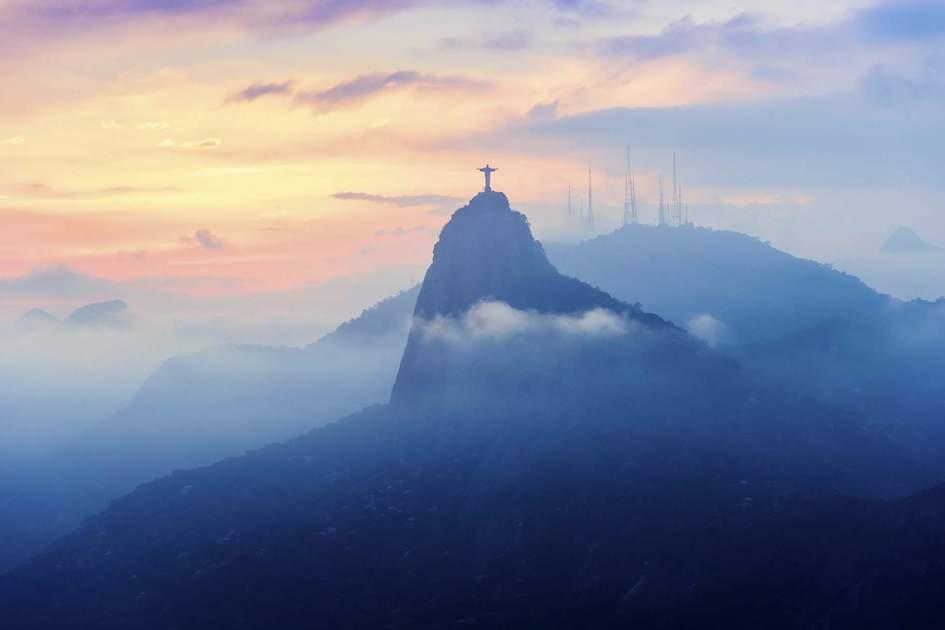 Sunset view of Christ the Redeemer, Rio de Janeiro