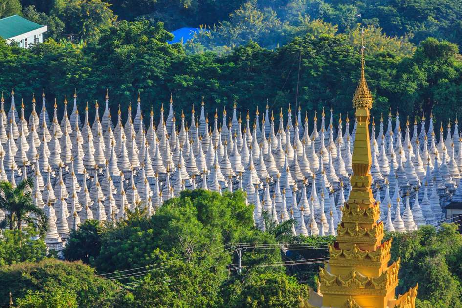 A forest of stupas at Sandamuni Pagoda, Mandalay, Myanmar