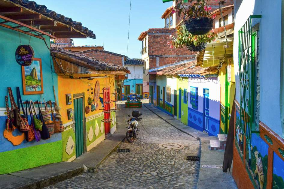 Colourful Colombian streets, Guatapé in northwestern Colombia, east of Medellín