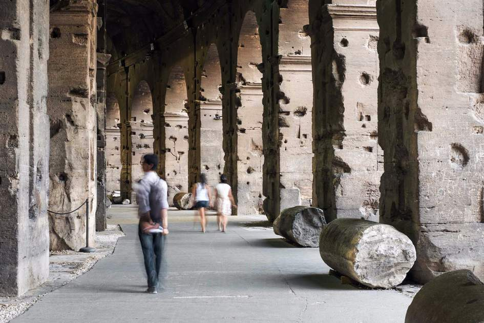 Under the arcades of the Colosseum, Rome