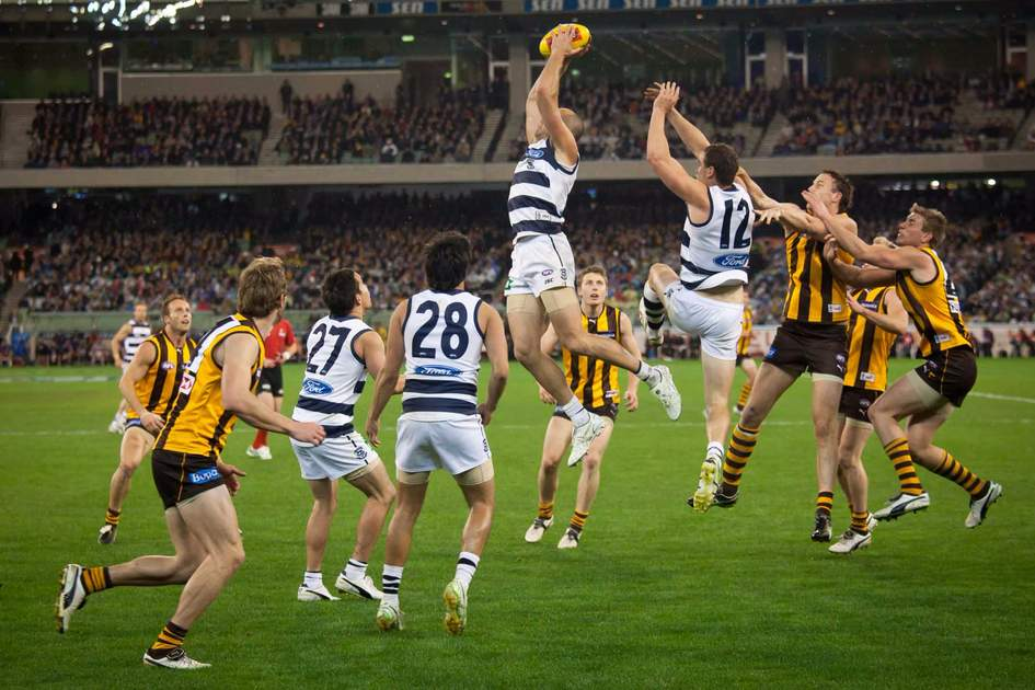 James Podsiardly takes a strong mark in Geelong's win over Hawthorn in Melbourne... Photo: Shutterstock