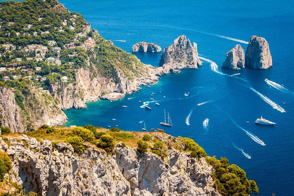 Capri, beautiful and famous island in the Mediterranean Sea Coast, Naples. Italy